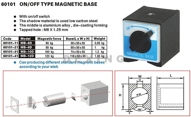 On/Off Type Magnetic Base,Extra Magnetic Bases,Magnetic ...